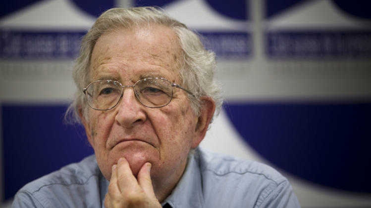 Noam Chompsky, U.S linguist and political critic, gestures during a talk at the press club in Geneva, Switzerland, Friday, July 26, 2013. Chomsky has become well known for his critiques of U.S. foreign policy, state capitalism and the mainstream news media. (AP Photo/Anja Niedringhaus)