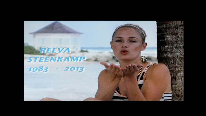 "In this frame-grab from state television channel SABC 1 a tribute is devoted to slain model Reeva Steenkamp, girlfriend of Olympic athlete Oscar Pistorius. South Africa's national broadcaster went ahead with the screening of  the  reality TV show ""Tropica Island of Treasure"" Saturday, Feb 16, 2013, featuring the dead model. Steenkamp encouraged her family to watch in one of her last conversations with them before her shooting death at the  home of Pistorius. (AP Photo/Denis Farrell)"