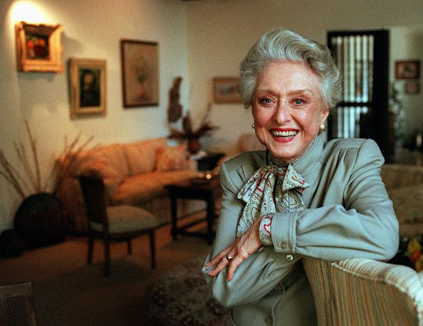 FILE- In this March 12, 1997, file photo, actress Celeste Holm poses at a friends&#39; home in Santa Monica, Calif. Celeste Holm, a versatile, bright-eyed blonde who soared to Broadway fame in &quot;Oklahoma!&quot; and won an Oscar in &quot;Gentlemen&#39;s Agreement&quot; but whose last years were filled with financial difficulty and estrangement from her sons, died Sunday, July 15, 2012, a relative said. She was 95.(AP Photo/Kevork Djansezian, File)