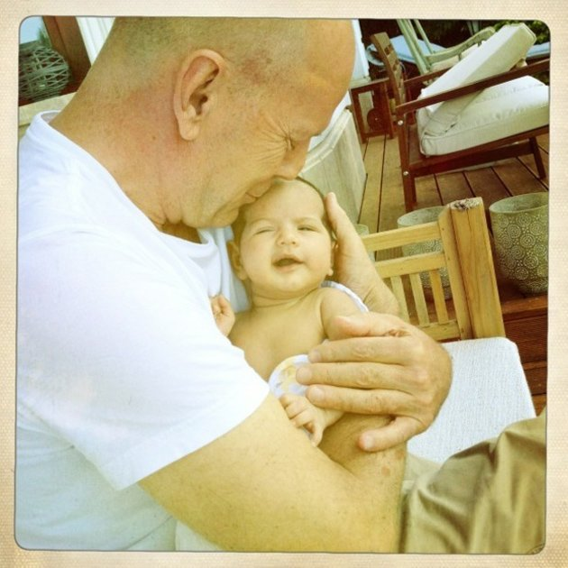 Celebrity photos: Bruce Willis wife Emma Heming-Willis tweeted this gorgeous photo of Bruce with their baby, Mabel Ray. Emma captioned the photo: A beautiful day in Budapest with the loves of my lif