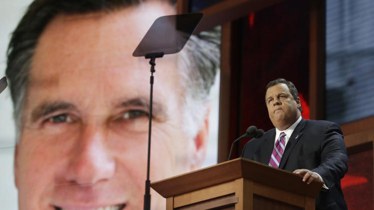 New Jersey Governor Chris Christie addresses the Republican National Convention in Tampa, Fla. on Tuesday, Aug. 28, 2012. (AP Photo/Charles Dharapak)