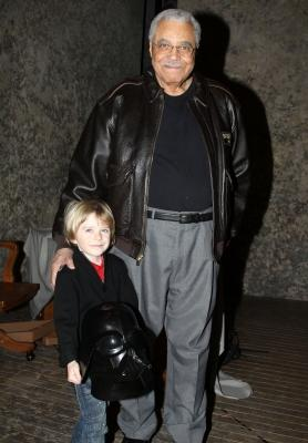 """James Earl Jones poses with six year-old Max Page (star of Volkswagen's Darth Vader themed Super Bowl commercial) backstage at """"Driving Miss Daisy"""" on Broadway at the Golden Theatre in New York City on February 7, 2011  -- FilmMagic"""