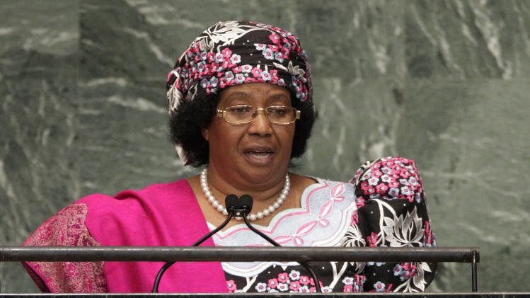 FILE - In this Sept. 26, 2012 file photo, Malawi President Joyce Hilda Mtila Banda addresses the 67th session of the United Nations General Assembly at U.N. headquarters. Malawi's government said Monday, March 11, 2013 that it has arrested at least 10 former top government officials for allegedly plotting a coup to stop then-Vice President Joyce Banda from becoming president after the death of former President Bingu wa Mutharika last year. (AP Photo/Frank Franklin II, File)
