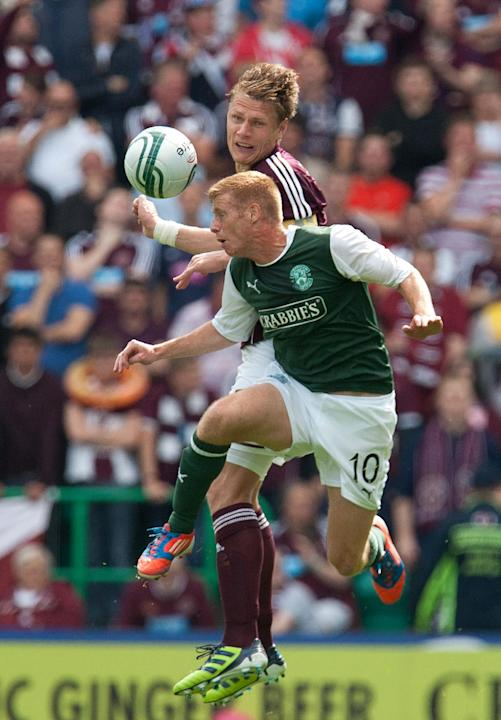 Hibernian's Eoin Doyle, right, has been in the goals recently