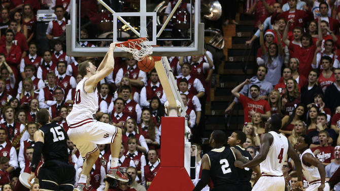 Indiana's Cody Zeller (40) dunks during the first half of an NCAA college basketball game against Bryant, Friday, Nov. 9, 2012, in Bloomington, Ind. (AP Photo/Darron Cummings)
