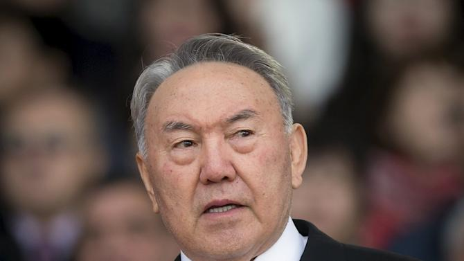 Kazakhstan's President Nazarbayev speaks during an election campaign rally at a stadium in Almaty