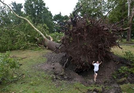 Jessica Stansfield poses for a photo below an enormous uprooted tree after the town was hit by a tornado in Elmira