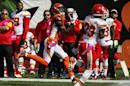 Cincinnati Bengals wide receiver A.J. Green, left, makes a catch in the first half of an NFL football game against the Kansas City Chiefs, Sunday, Oct. 4, 2015, in Cincinnati. (AP Photo/Frank Victores)