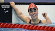 Great Britain's Eleanor Simmonds celebrates as she wins the Women's 200 metres IM Final SM6 category during the London 2012 Paralympic Games at the Aquatics Centre in the Olympic Park in east London on September 3, 2012. Athletes at the London Paralympics are on course to break more world records than in Beijing four years ago, the International Paralympic Committee (IPC) said on Tuesday