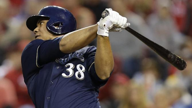 Peralta doubles home 2 runs, Brewers beat Reds 2-0