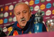 Spanish headcoach Vicente Del Bosque takes part in a press conference in Gdansk on the eve of their Euro 2012 football championships against Italy. He and players Iker Casillas and Andres Iniesta said Saturday a potentially damaging rift between the team&#39;s Barcelona and Real Madrid players is a thing of the past