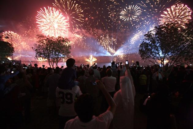 Fireworks light the sky near the Kuwait Towers during celebrations marking the Gulf state's 50th anniversary of its constitution, in Kuwait City on November 10, 2012.  Kuwait marked the golden jubilee