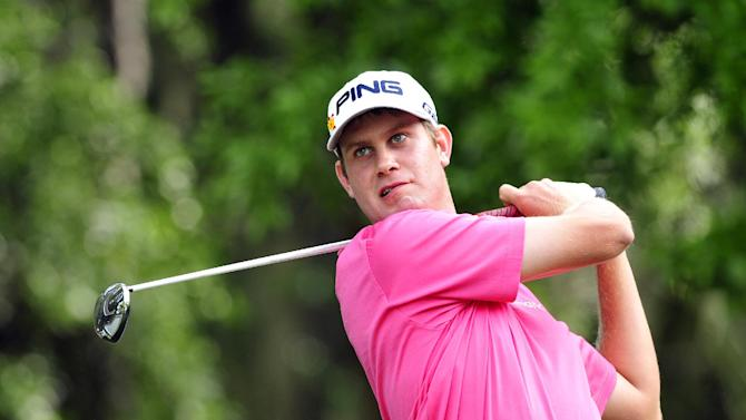 Harris English watches his shot off the 13th tee during the second round of the RBC Heritage golf tournament in Hilton Head Island, S.C., Friday, April 13, 2012. (AP Photo/Stephen Morton)