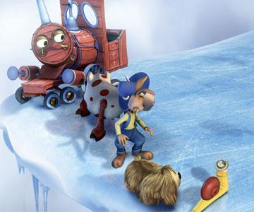 The Train (voiced by Chevy Chase ), Ermintrude (voiced by Whoopi Goldberg ), Dylan (voiced by Jimmy Fallon ), Doogal (voiced by Daniel Tay ) and Brian (voiced by William H. Macy ) in The Weinstein Company's Doogal