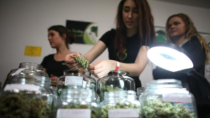 "FILE - In this April 20, 2013 file photo, employees of The Healing Leaf collective in Lake Stevens show some of their product during ""Studio 4/20,"" a legal marijuana celebration put on by DOPE Magazine at 7 Point Studios in Seattle. After months of intensive research, public meetings and public reaction, state officials on plan to release their draft rules governing Washington's new legal marijuana industry on Thursday, May 16, 2013. (AP Photo/seattlepi.com, Joshua Trujillo, File) MAGS OUT; NO SALES; SEATTLE TIMES OUT; MANDATORY CREDIT; TV OUT"