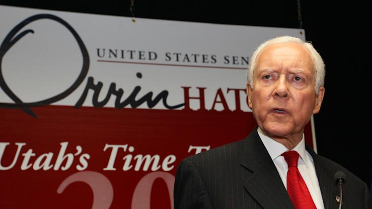 U.S. Senator Orrin Hatch, R-Utah, gives his victory speech at an election party after his primary win over former state senator, Dan Liljenquist, Tuesday, June 26, 2012, at an election party in Salt Lake City.  (AP Photo/Colin E. Braley)