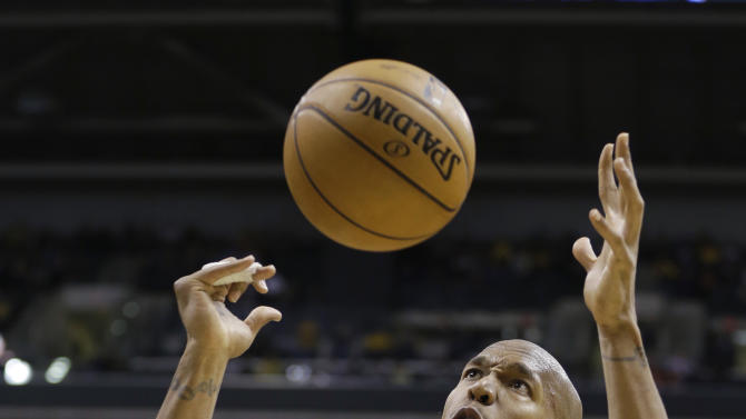 Indiana Pacers' David West prepares to grab a rebound during the second half of an NBA basketball game against the Miami Heat on Tuesday, Jan. 8, 2013, in Indianapolis. The Pacers defeated the Heat 87-77. (AP Photo/Darron Cummings)
