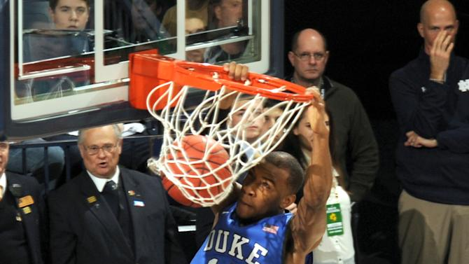 Duke guard Rasheed Sulaimon dunks in the first half of an NCAA college basketball game with Notre Dame Wednesday, Jan. 28, 2015, in South Bend, Ind. (AP Photo/Joe Raymond)