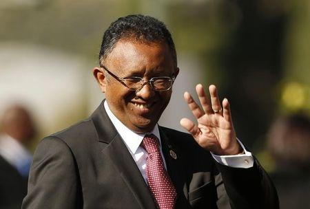 Madagascar's President Hery Rajaonarimampianina arrives for the inauguration ceremony of South African President Jacob Zuma at the Union Buildings in Pretoria