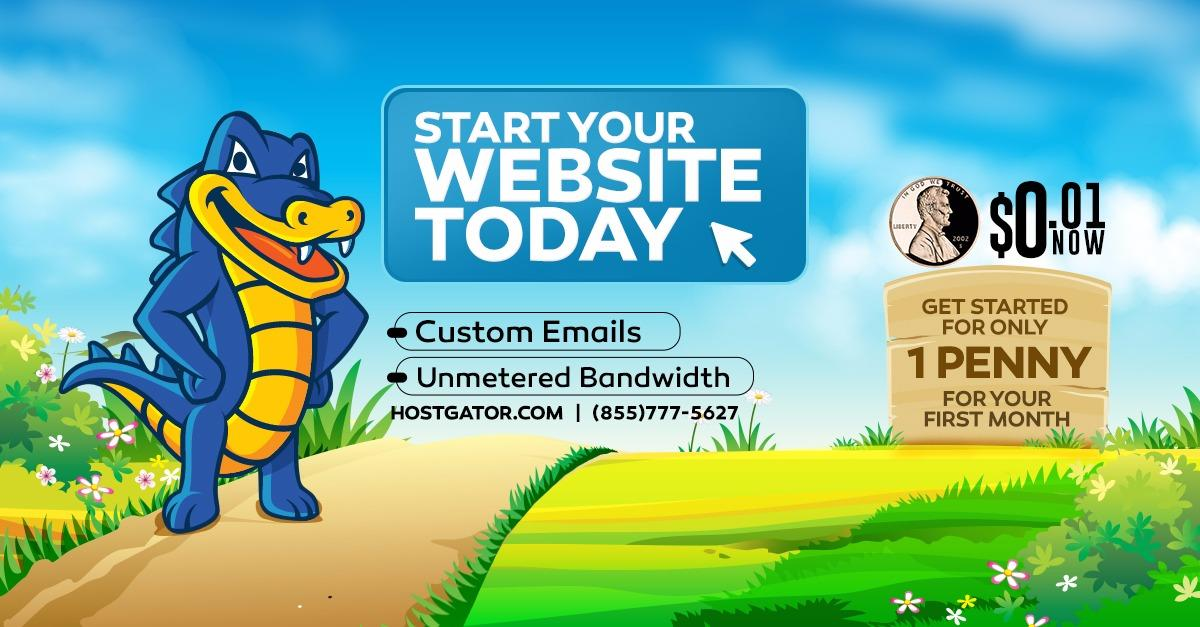 Start Your Website for only $0.01 Today!
