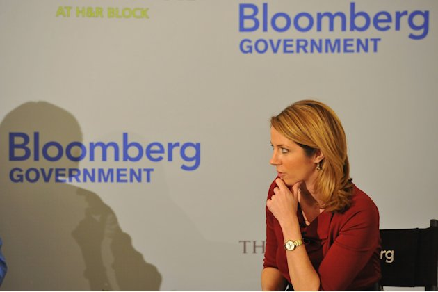 Megan Hughes, Bloomberg TV, listens at an event on the tax implications of health care reform, on Friday, February 15, 2013 in Washington, DC. The event kicked of a multi-city engagement tour hosted b