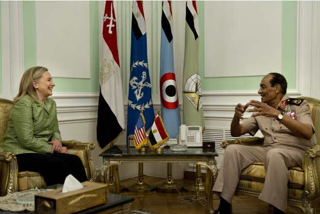 US Secretary of State Hillary Rodham Clinton listens to Field Marshal Hussein Tantawi before a meeting at the Ministry of Defense July 15, 2012 in Cairo, Egypt. Clinton is holding talks with Egypt's t
