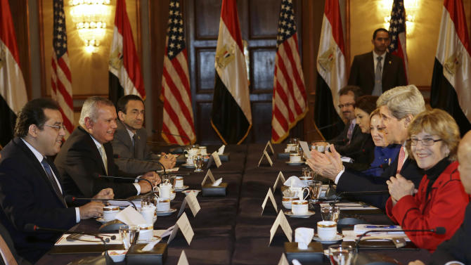 U.S. Secretary of State John Kerry, second from right, meets with members of Egyptian political parties including Ayman Nour, left, Egypt on Saturday, March 2, 2013. Cairo is the sixth leg of Kerry's first official overseas trip and begins the Middle East portion of his nine-day journey. (AP Photo/Jacquelyn Martin, Pool)