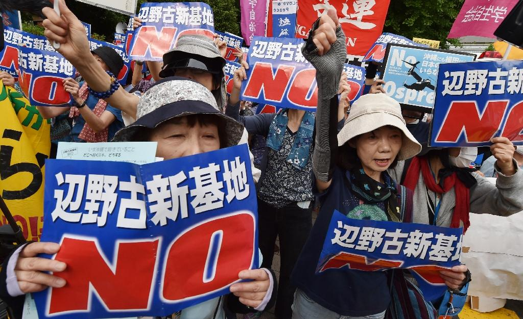 Thousands surround Japan's parliament, protest new US base plan