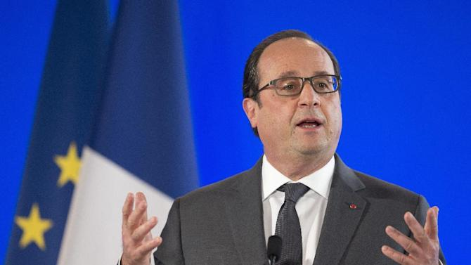French President Francois Hollande speaks at the French Embassy in Washington, Tuesday, Nov. 24, 2015. Earlier the president met with President Barack Obama at the White House. (AP Photo/Manuel Balce Ceneta)