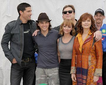 Matthew Fox , Emile Hirsch , Christina Ricci , John Goodman and Susan Sarandon at the Long Beach Grand Prix and Toyota Pro/Celebrity Race for the Speed Racer cast photo shoot