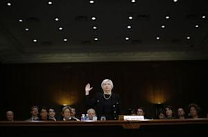 Yellen, President Obama's nominee to lead the U.S. Federal Reserve, is sworn in to testify at her U.S. Senate Banking Committee confirmation hearing in Washington