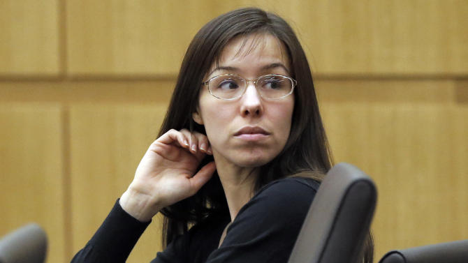 FILE - This Jan. 9, 2013 file photo shows Jodi Arias appearing for her trial in Maricopa County Superior court in Phoenix. A judge has ruled, Monday, Aug. 4, 2014, that Arias can represent herself in the upcoming penalty phase of her murder trial. (AP Photo/Matt York, File)