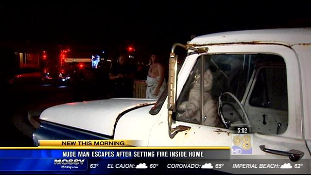 Nude man escapes after setting fire inside home