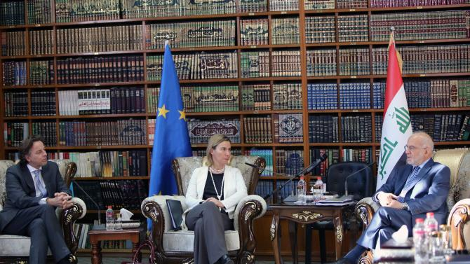 EU Foreign Policy Chief Mogherini and Dutch Foreign Minister Koenders meet with Iraqi Foreign Minister al-Jaafari in Baghdad