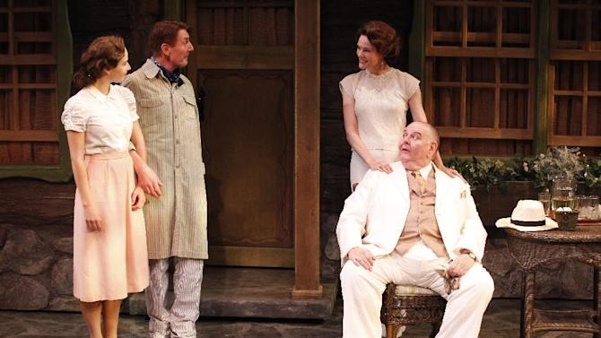 "This theater image released by Jim Randolph Media Relations shows, from left, Julia Bray, Byron Jennings, Carolyn McCormick and Michael McCarty in a scene from Jeffrey Hatcher's new comedy ""Ten Chimneys,"" performing off-Broadway at the Theatre at St. Clement's in New York.  (AP Photo/Jim Randolph Media Relations, Carol Rosegg)"