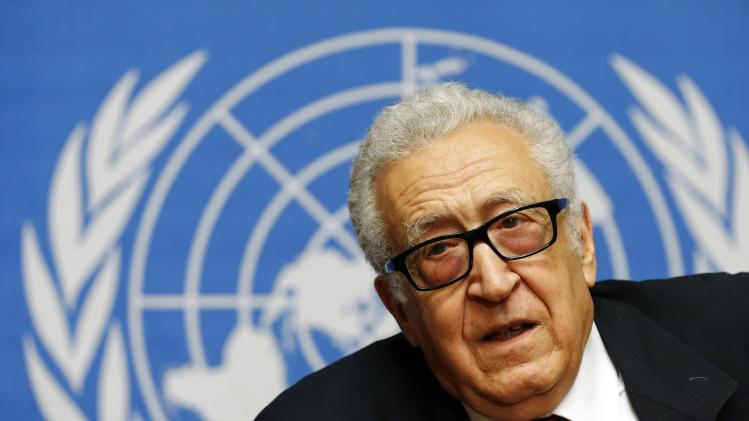 Arab League-United Nations envoy Brahimi addresses a news conference after a meeting on Syria at the United Nations European headquarters in Geneva