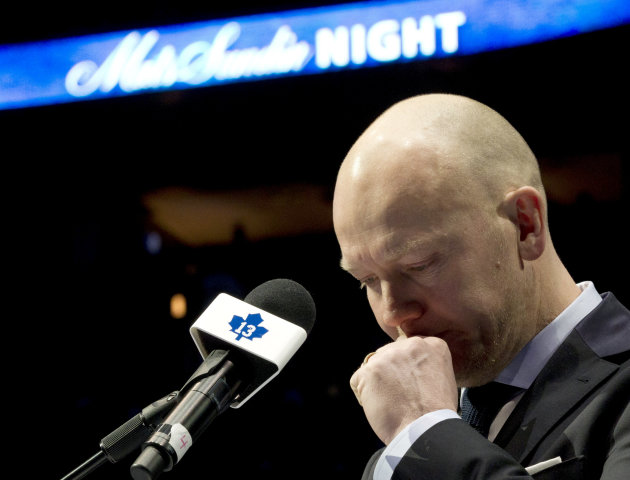 Former Toronto Maple Leafs captain Mats Sundin composes himself as he speaks before his No. 13 is raised to the rafters prior to an NHL hockey game between the Maple Leafs and the Montreal Canadiens i