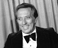 "FILE - This Feb. 23, 1978 file photo shows performer and host Andy Williams at the Grammy Awards in Los Angeles. Williams, who had a string of gold albums and hosted several variety shows and specials like ""The Andy Williams Show,"" died Tuesday, Sept. 25, 2012, at his home in Branson, Missouri, following a yearlong battle with bladder cancer, his Los Angeles-based publicist, Paul Shefrin, said Wednesday. He was 84. (AP Photo/Lennox McLendon, file)"