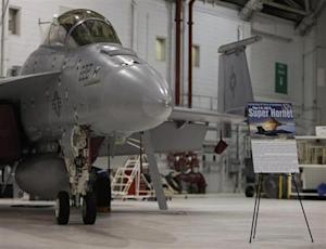 F/A 18 E/F fighter jet is seen in hanger at Naval Air…