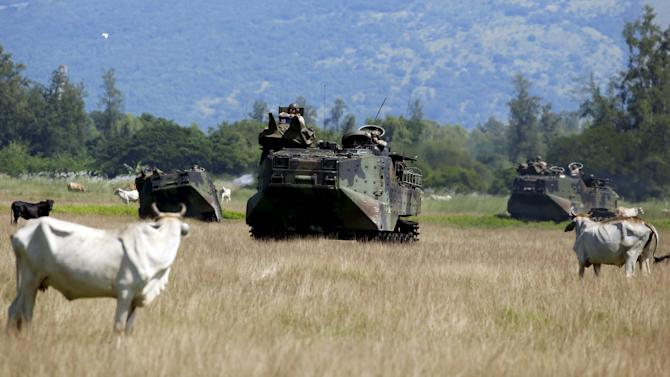U.S. soldiers aboard amphibious armoured vehicles manuevre near cows in a grazing field during assault exercises with Philippine marine troops in joint drills aimed at enhancing cooperation between allies at a Philippine Naval base San Antonio, Zambales