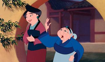Mulan's mother (voiced by Freda Foh Shen ) and grandmother (voiced by June Foray ) in Walt Disney Pictures' Mulan