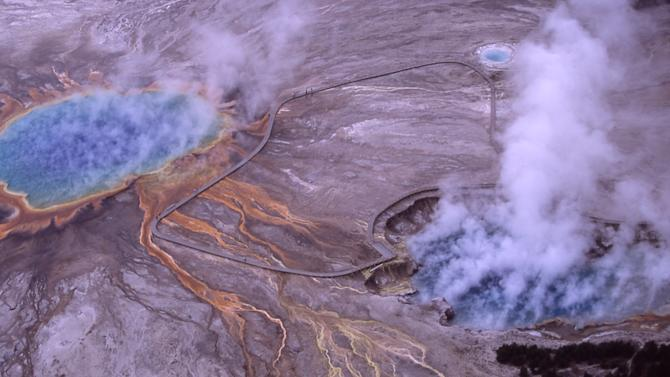 Aerial of Excelsior Geyser Crater & Grand Prismatic Spring; Jim Peaco