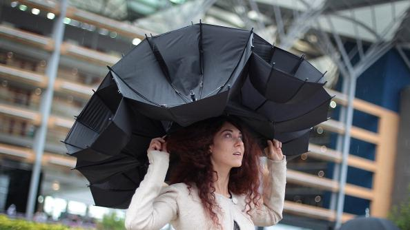 Larisa Katz shows off an umbrella hat design at Royal Ascot on Ladies Day on June 21, 2012 in Ascot, England. Ladies Day is traditionally the fashion highlight of the five day race meeting. (Photo by Peter Macdiarmid/Getty Images)
