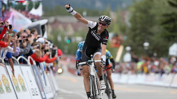 Laurent Didier celebrates after winning the fifth stage of the USA Pro Challenge cycling race in Breckenridge, Colorado on August 22, 2014