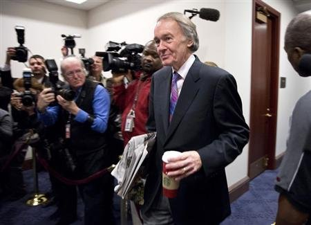 "Congressman Ed Markey (D-MA) arrives to meet with House Democrats and U.S. Vice President Joseph Biden about a solution for the ""fiscal cliff"" on Capitol Hill in Washington January 1, 2013. REUTERS/Joshua Roberts"