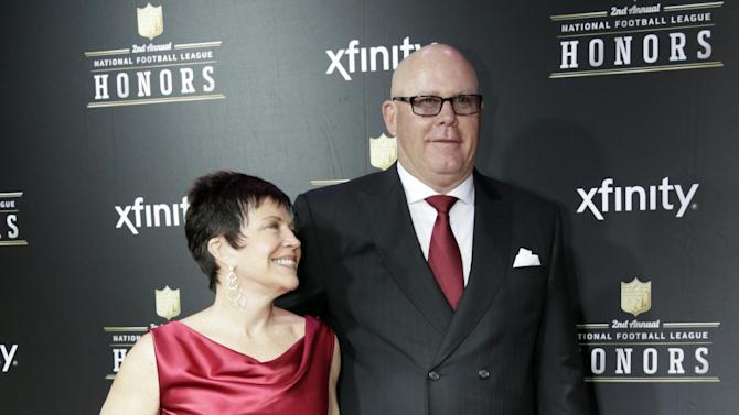 Bruce Arians of the Arizona Cardinals, right, and Christine Arians arrive at the 2nd Annual NFL Honors on Saturday, Feb. 2, 2013 in New Orleans. (Photo by AJ Mast/Invision/AP)