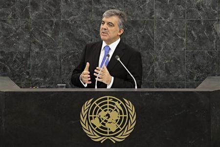 Turkish President Abdullah Gul addresses the 68th United Nations General Assembly in New York