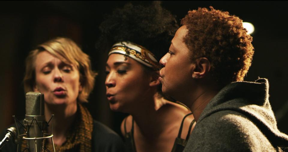 "This undated publicity photo released by the Sundance Institute shows, from left, Jo Lawry, Judith Hill and Lisa Fischer in a scene from the film, ""Twenty Feet From Stardom,"" included in the US Documentary Competition at the 2013 Sundance Film Festival. (AP Photo/Sundance Institute, Graham Willoughby)"