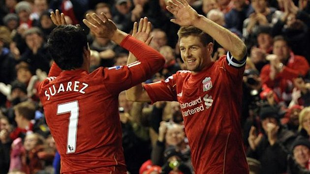 Steven Gerrard and Luis Suarez Liverpool