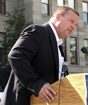 U.S. Sen. Jon Tester speaks at the state Capitol  in Helena, Mont.,Tuesday, Oct. 2, 2012 while campaigning with help from U.S. Sen. Jim Web of Virginia. (AP Photo/Matt Gouras)